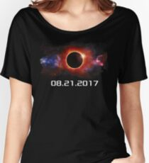 August 21 2017 Total Solar Eclipse Cool Fun Galaxy Design Women's Relaxed Fit T-Shirt