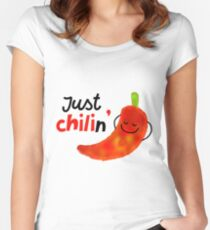 Just Chilin - Punny Garden Women's Fitted Scoop T-Shirt