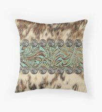 Rustic brown cowhide teal western country tooled leather  Throw Pillow