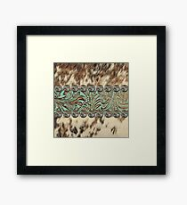 Rustic brown cowhide teal western country tooled leather  Framed Print