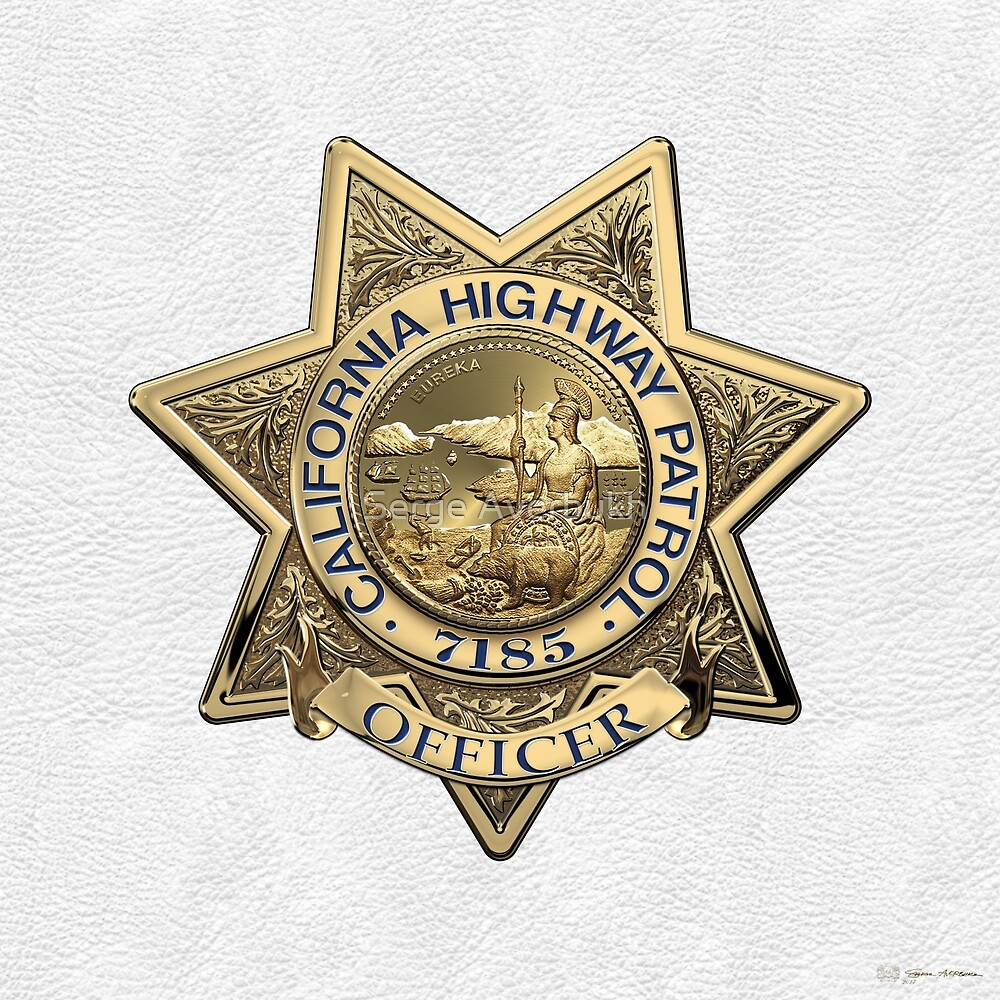 California Highway Patrol  - C H P  Officer Badge 7185 over White Leather by Serge Averbukh