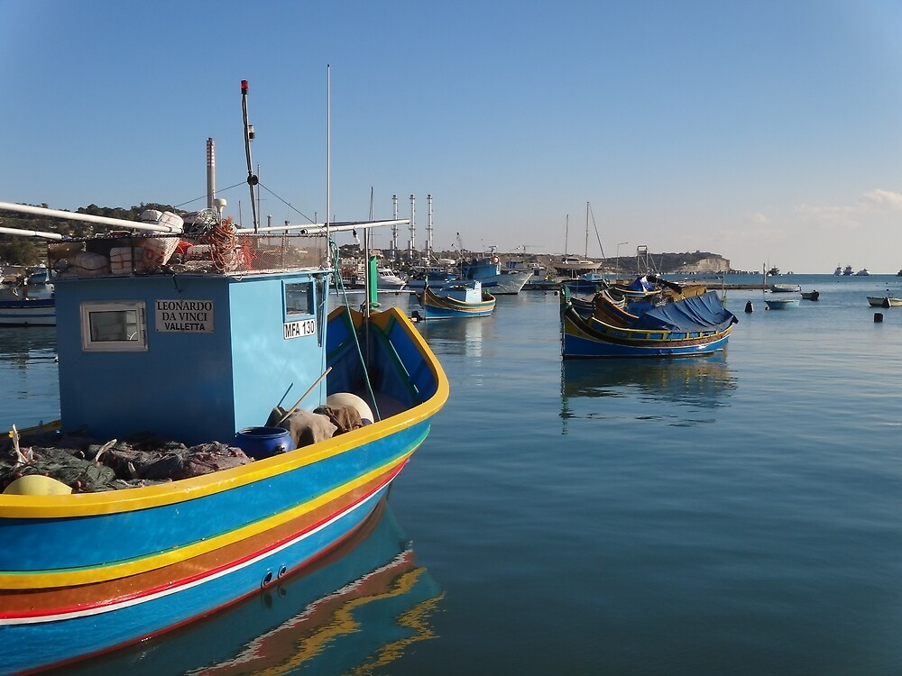 Primary Colored Boat in Blue by jeanellet
