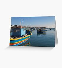 Primary Colored Boat in Blue Greeting Card