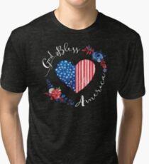 God Bless America USA Heart Patriotic Boho July 4th Design Tri-blend T-Shirt