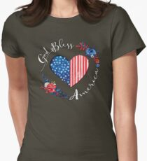 God Bless America USA Heart Patriotic Boho July 4th Design Womens Fitted T-Shirt