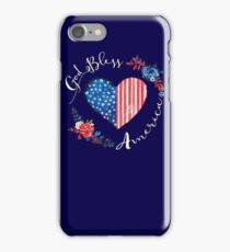 God Bless America USA Heart Patriotic Boho July 4th Design iPhone Case/Skin