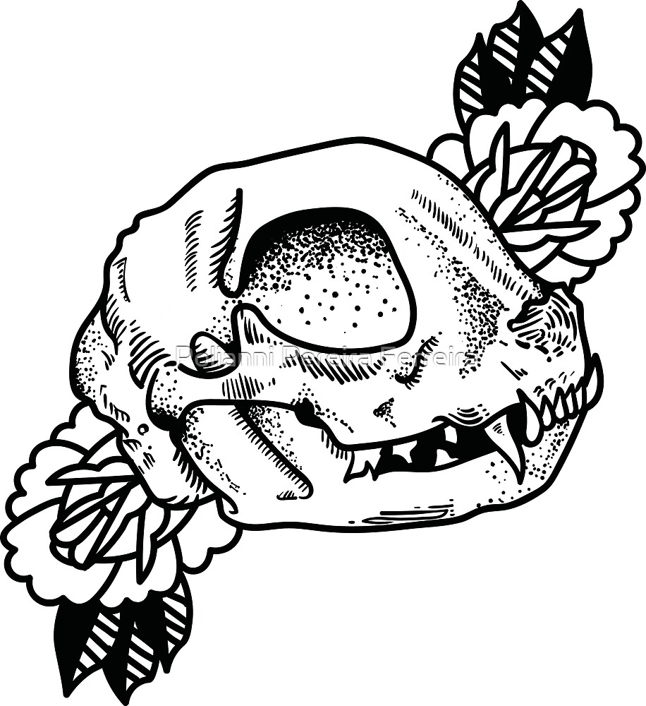 Cat skull and roses by Polianni Pereira