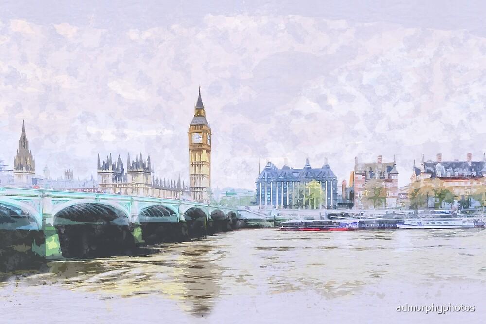 Big Ben and Westminster Bridge London England by admurphyphotos