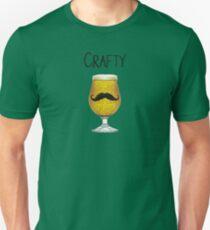 Crafty Funny Craft Beer Mustache Brewskie Suds Lover Design Unisex T-Shirt