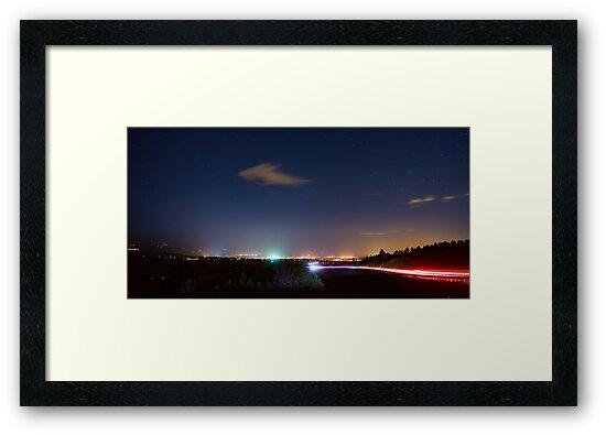 Driving Into Boulder Colorado City Lights by Bo Insogna