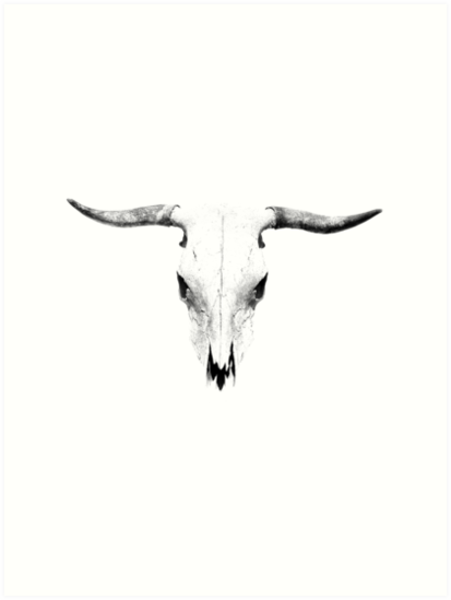 bull skull art prints by nordikart redbubble