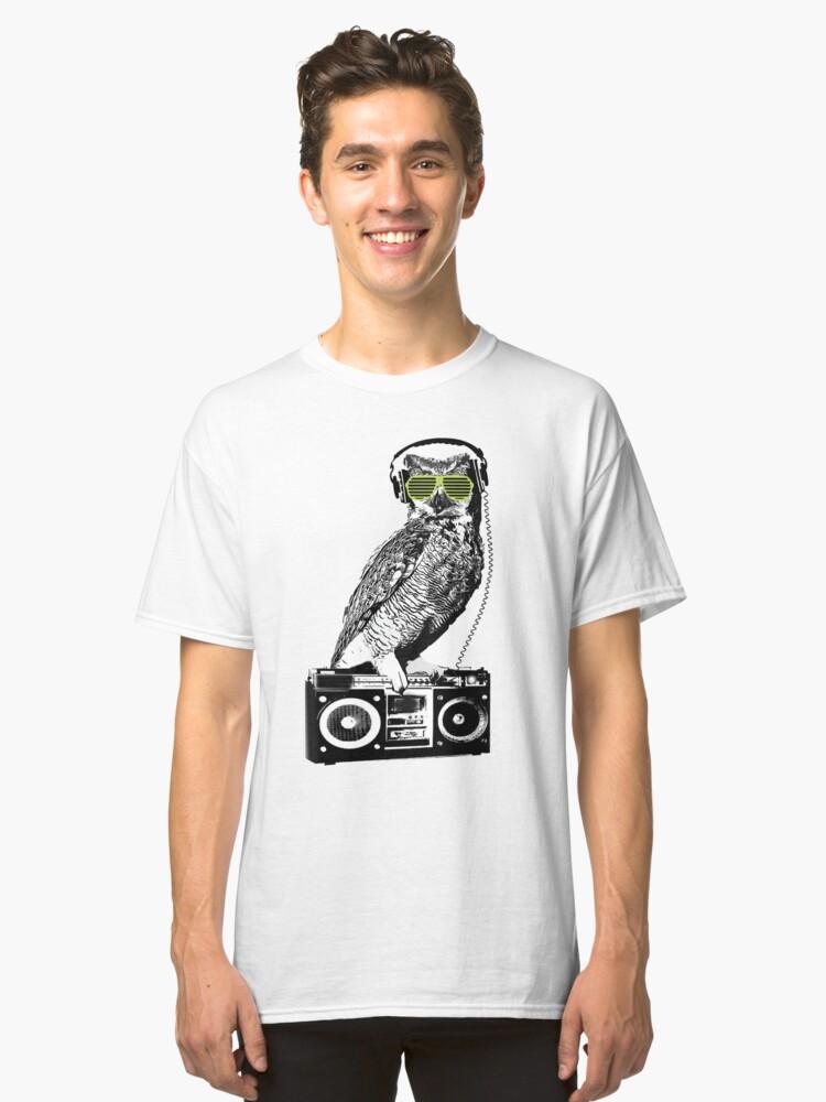 Owl Shutter Shades Sunglasses Rage Music Boom Box Radio  Classic T-Shirt Front