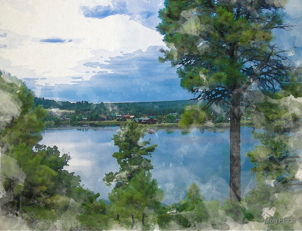 Before the Storm at the Lake in Watercolor by May Finch