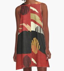 Art, Abstract, Modern, Red, Black and Tan A-Line Dress