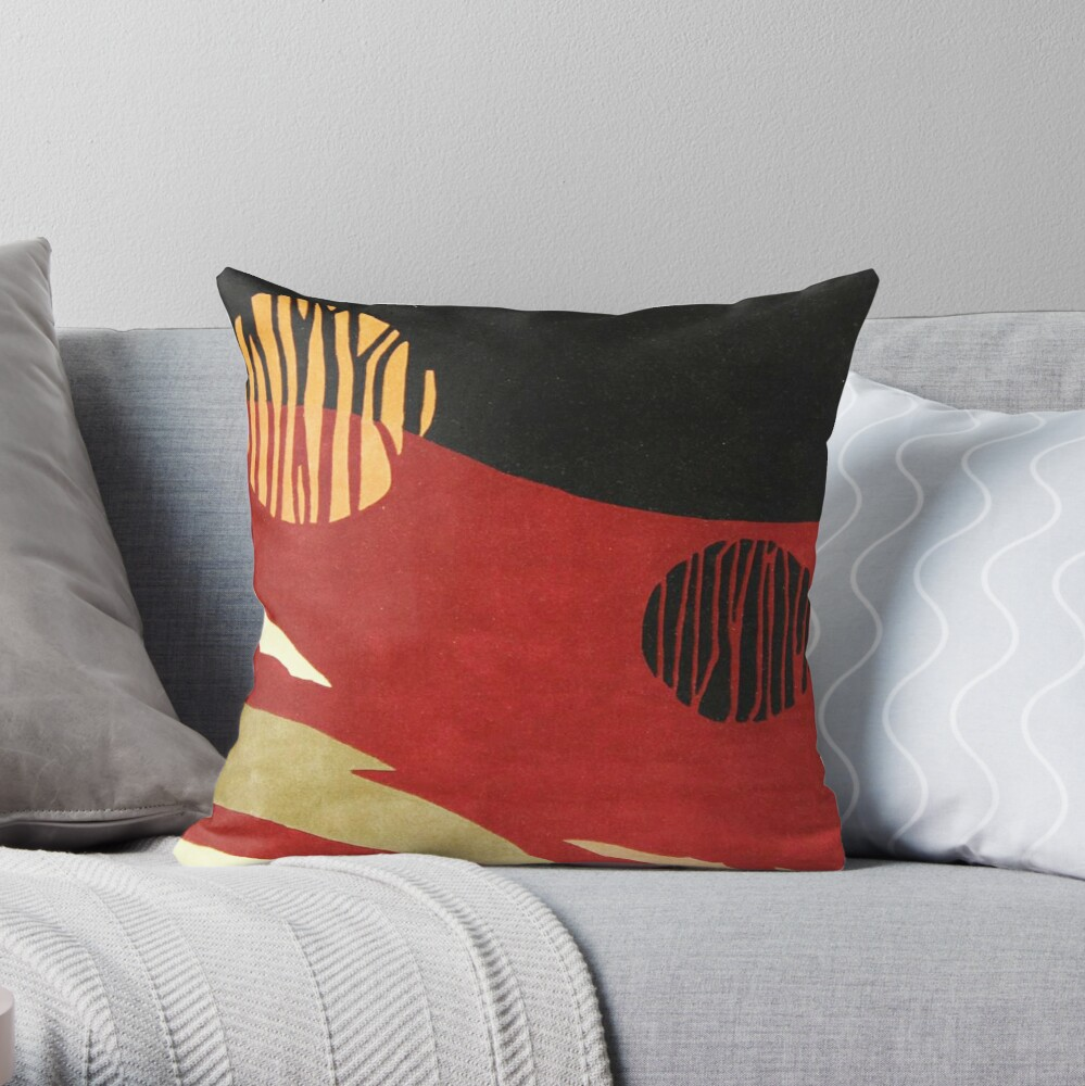 Art, Abstract, Modern, Red, Black and Tan Throw Pillow