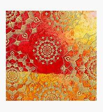 Gold Red Saffron Mandalas Textured Pattern Photographic Print