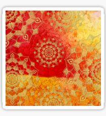Gold Red Saffron Mandalas Textured Pattern Sticker