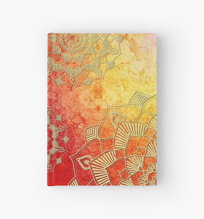 Gold Red Saffron Mandalas Textured Pattern by ColoringPress