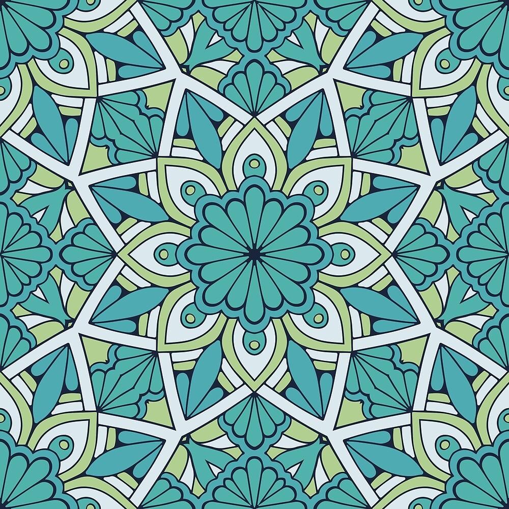 Flower Mandala Cyan Green by roseglasses