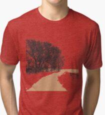 Country Road - Linoleum Cut Print Tri-blend T-Shirt