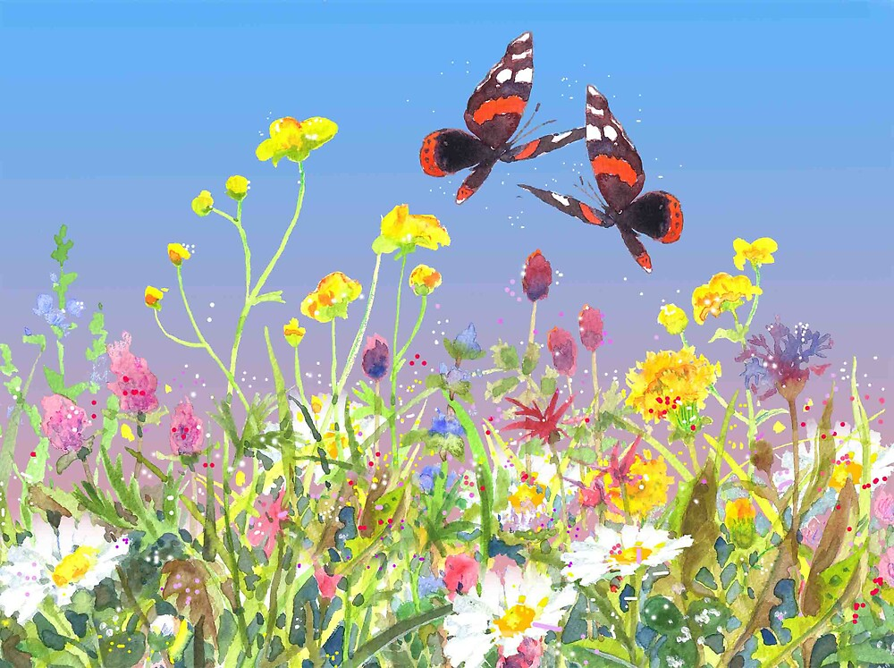 Summer wind meadow butter flies by Roland Schicht