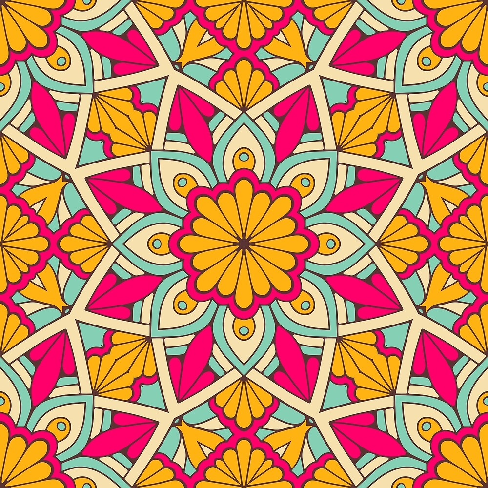 Orange Pink Flower Pattern by roseglasses