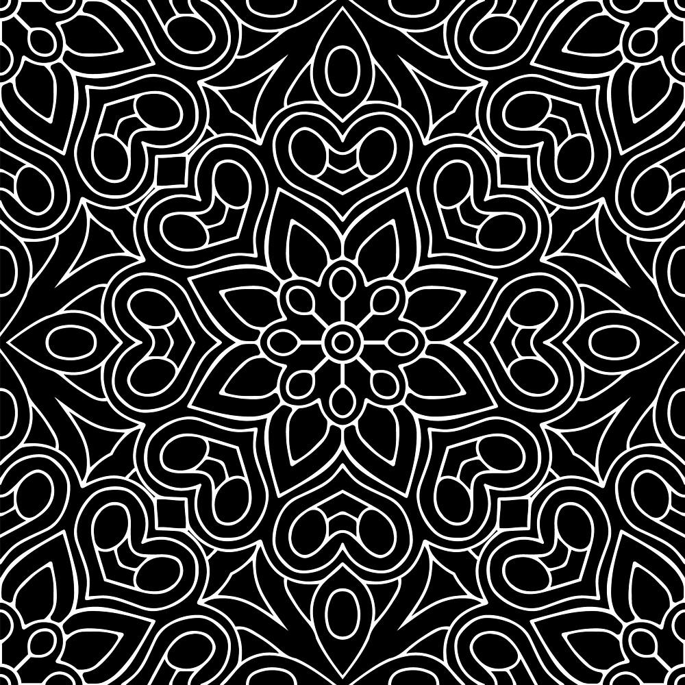 Black White Flower Line Art by roseglasses