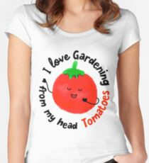 I love Gardening from my head Tomatoes - Punny Garden Women's Fitted Scoop T-Shirt
