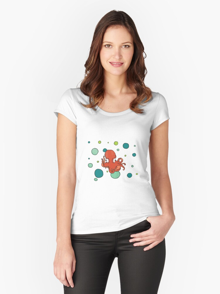 Polka dot Octopus Women's Fitted Scoop T-Shirt Front