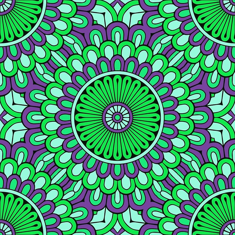 Green Purple Mandala by roseglasses