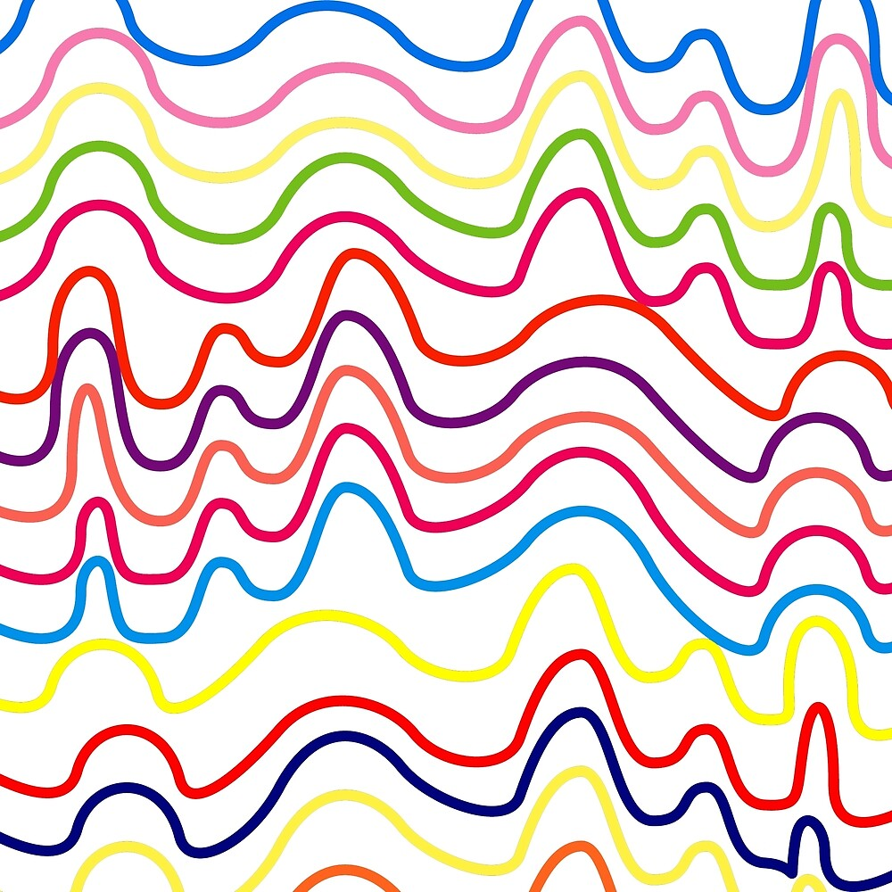 Colorful Horizontal Squiggle Lines on White by Elaine Plesser
