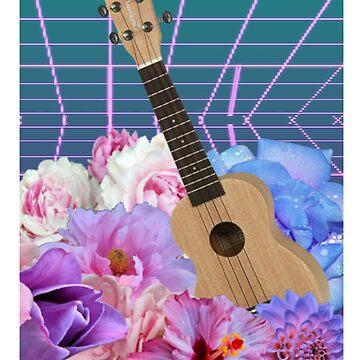 Vaporwave flowers & ukelele by WaffleGutt