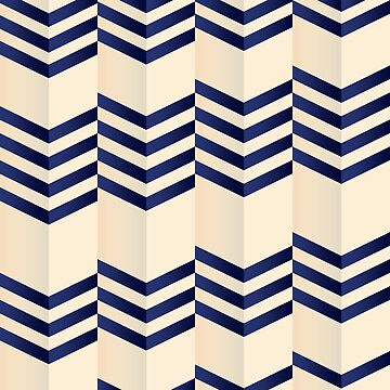 Offset Thin Dark Blue Chevron Stripes on Cream by ElainePlesser