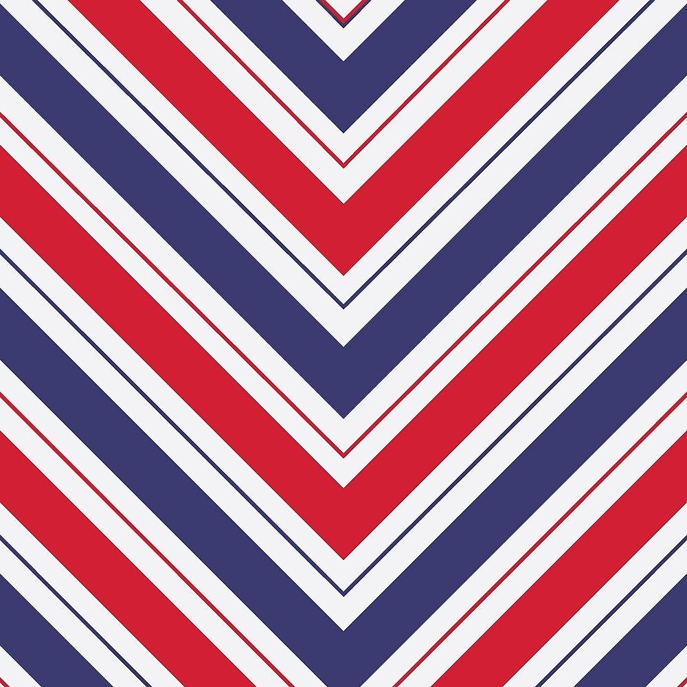 Patriotic Red White and Blue Chevron Stripes by Elaine Plesser