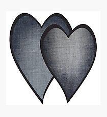 Two hearts -denim photocollage Photographic Print
