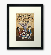 Stranger Things cartoon mash up Framed Print