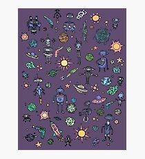 Space Robot Doodles Photographic Print