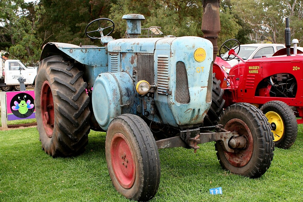 Old blue vintage tractor by FranWest