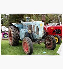Old blue vintage tractor Poster