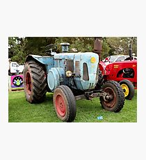 Old blue vintage tractor Photographic Print