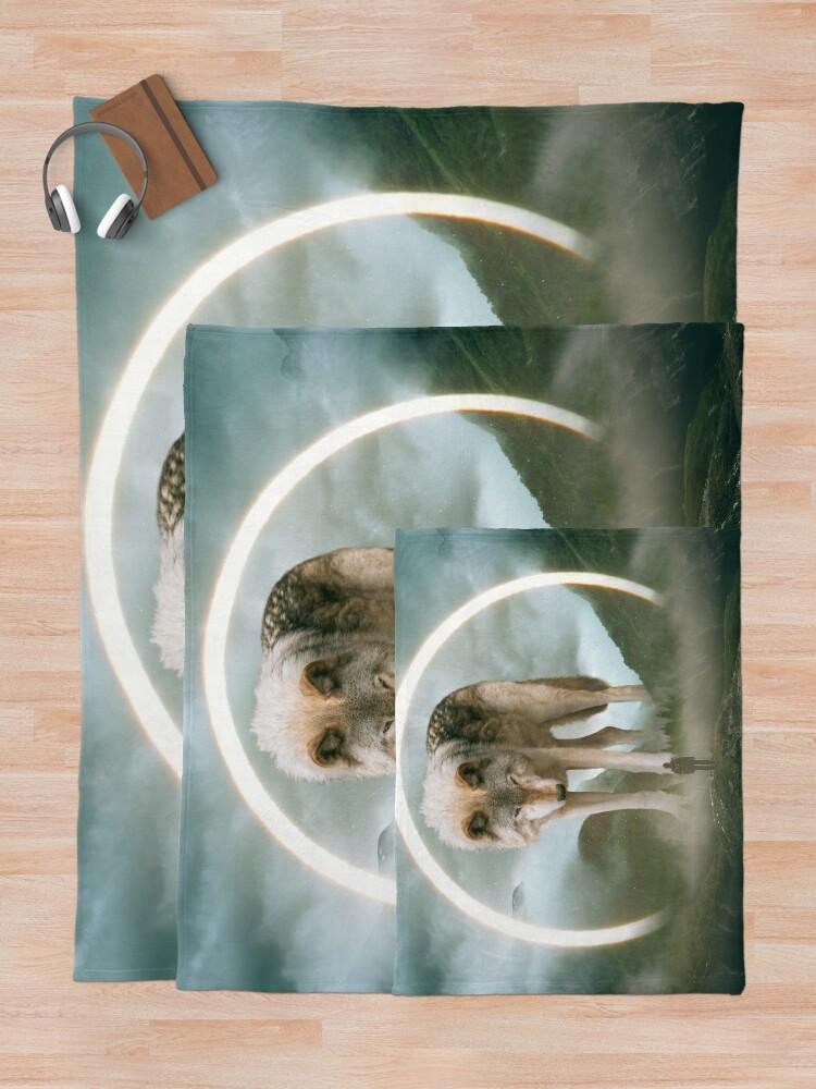 Alternate view of aegis | wolf Throw Blanket