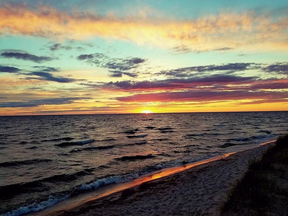Sunset on Lake Michigan by Shellie Hill