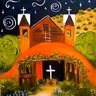 Starry Night at Chimayo Church, New Mexico by Vaillancourt