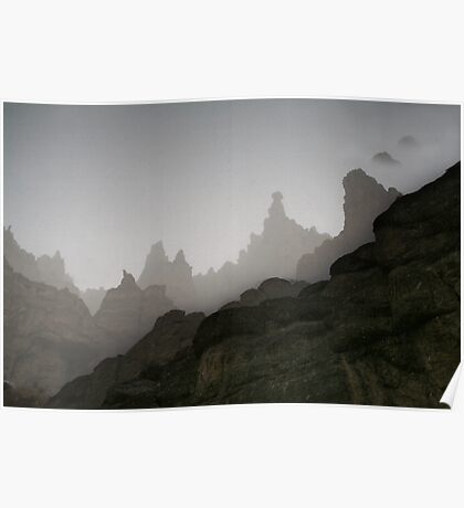 Fog in mountains (Afghanistan) Poster