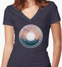 Circle Forest Mixtape Women's Fitted V-Neck T-Shirt