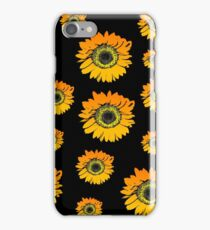 Sunflowers on black background, summer flowers, floral pattern iPhone Case/Skin
