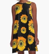 Sunflowers on black background, summer flowers, floral pattern A-Line Dress