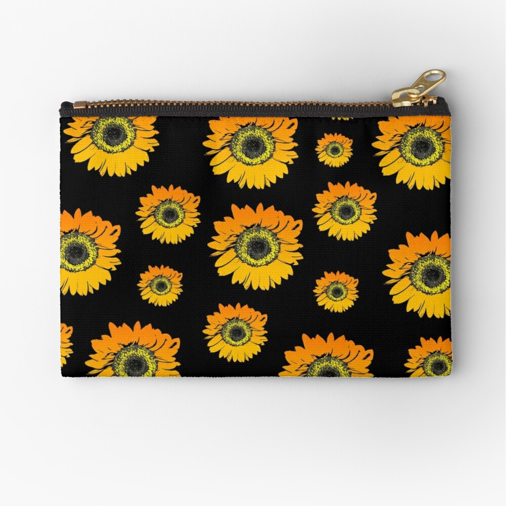 Sunflowers On Black Background Summer Flowers Floral Pattern