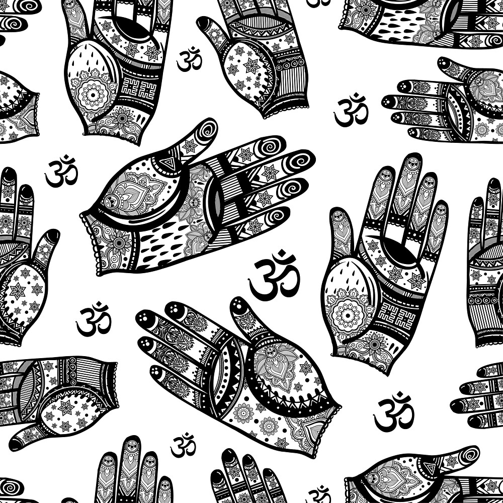 Hamsa Hand Ancient Amulet Pattern B/W by SpiritualBob