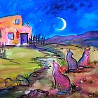 Three singing coyotes, New Mexico by Vaillancourt